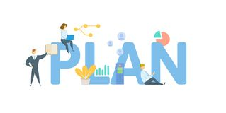 PLAN. Concept with people, letters and icons. Flat vector illustration. Isolated on white background. stock illustration