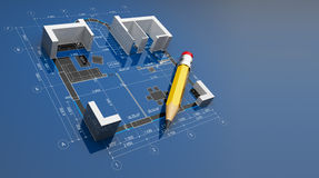 Plan of construction. 3D illustration Stock Photo