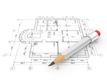 Plan of construction. Isolated. 3D illustration Royalty Free Stock Images