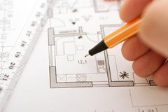 Plan correction. Correction on an floorplan Stock Images