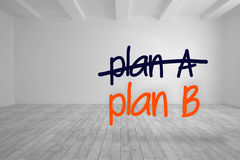 Plan a crossed out and plan b written in bright room Royalty Free Stock Images