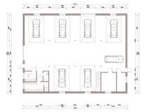 Plan d'étage de la petite station service de voiture Photo stock