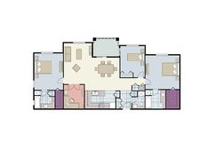 Plan d'étage de logement à trois chambres avec des meubles illustration de vecteur