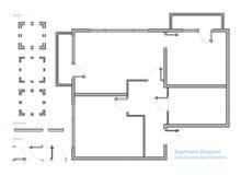 Plan d'étage Modèle d'appartement avec des éléments de construction Renfermez le projet Vecteur illustration de vecteur