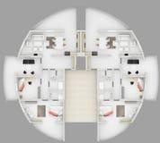 Plan d'étage rond de l'appartement 3D illustration libre de droits