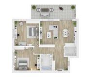 Plan d'étage d'une illustration de la vue 3D de maison illustration stock