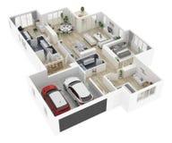 Plan d'étage d'une illustration de la vue supérieure 3D de maison illustration stock