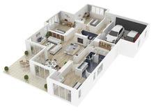 Plan d'étage d'une illustration de la vue supérieure 3D de maison