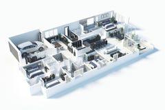 Plan d'étage d'une illustration de la vue supérieure 3D de maison Ouvrez la disposition vivante d'appartement de concept Photos libres de droits