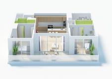 Plan d'étage d'une illustration de la vue supérieure 3D de maison Ouvrez la disposition vivante d'appartement de concept Photo stock
