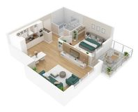 Plan d'étage d'une vue supérieure de maison Ouvrez la disposition vivante d'appartement de concept illustration stock
