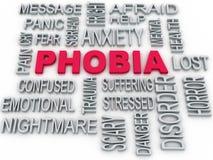 plan d'étude de symbole de la phobie 3d sur le blanc Di d'inquiétude Image libre de droits