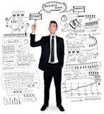 Plan d'action d'écriture d'homme d'affaires images stock