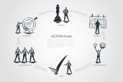 Plan d'action - stratégie, collabororation, contrôle, exécution, concept réglé d'objectif illustration de vecteur