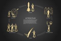 Plan d'action - stratégie, collabororation, contrôle, exécution, concept réglé d'objectif illustration libre de droits