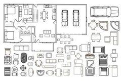 Plan d'architecture avec des meubles dans la vue supérieure Photo libre de droits