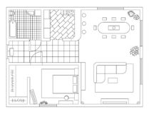 Plan d'architecture avec des meubles dans la vue supérieure Livre de coloration illustration stock