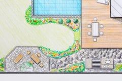 Plan d'arrière-cour de patio de conception d'architecte paysagiste illustration libre de droits