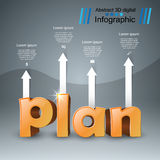 Plan 3d business infographics. Plan 3d logo on the grey background Royalty Free Stock Image