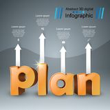 Plan 3d business infographics. Plan 3d logo on the grey background Stock Photography