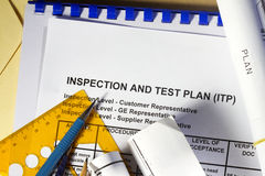 Plan d'essai d'inspection et images stock