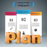 Plan 3d business infographics. Plan 3d idea on the grey background Royalty Free Stock Photos
