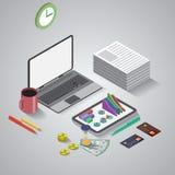 Plan 3d isometrisk mobil applikation, affär royaltyfri illustrationer