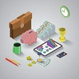 Plan 3d isometrisk mobil applikation, affär vektor illustrationer