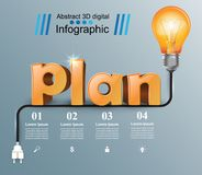 Plan 3d business infographics. Plan 3d logo on the grey background Royalty Free Stock Images