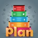 Plan 3d business infographics. Plan 3d logo on the grey background Royalty Free Stock Photo