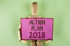Plan de actuación 2018 de la escritura del texto de la escritura Concepto que significa hacer la lista en las blancos de las meta Imagen de archivo libre de regalías