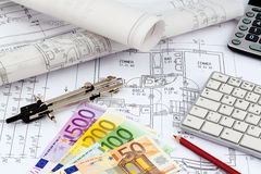 Plan de Chambre avec d'euro billets de banque Photo libre de droits