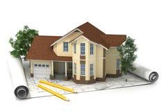 Plan de construction avec la maison et le bois 3d Images stock