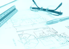 Plan de construction, hôtel Images libres de droits