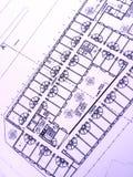 Plan de construction, immeuble de bureaux Photos libres de droits