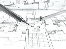 plan de dessin architectural du projet de maison - concept dénommé d'architecture, d'ingénierie et d'immobiliers images libres de droits
