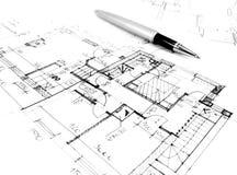 plan de dessin architectural du projet de maison - concept dénommé d'architecture, d'ingénierie et d'immobiliers illustration stock