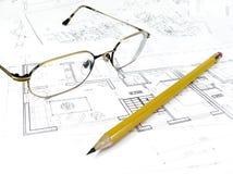 plan de dessin architectural du projet de maison - concept dénommé d'architecture, d'ingénierie et d'immobiliers photos stock