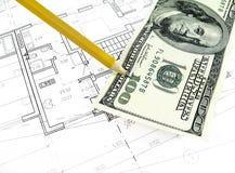 plan de dessin architectural du projet de maison - concept dénommé d'architecture, d'ingénierie et d'immobiliers image libre de droits