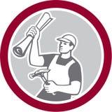 Plan de Holding Hammer Building del carpintero del constructor retro libre illustration