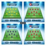 Plan de joueur d'équipe du football Groupe E avec des drapeaux BRÉSIL, SUISSE, Photo libre de droits