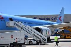 Plan de 2016 juillet Italie - de Neos de la ligne aérienne italienne à l'aéroport Image stock