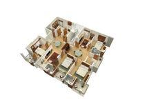 plan de l'étage 3D d'une résidence Photographie stock libre de droits