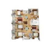 plan de l'étage 3D d'une résidence Photos stock