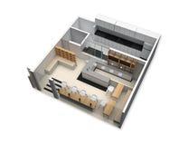 plan de l'étage 3d d'un petit restaurant Images stock