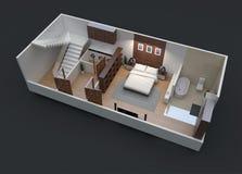 plan de l'étage 3D d'une unité résidentielle minuscule Images libres de droits