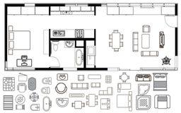 Plan de la arquitectura con muebles en la visión superior stock de ilustración