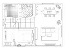 Plan de la arquitectura con muebles en la visión superior Libro de colorante stock de ilustración