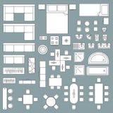 Plan de la arquitectura de la opinión superior de los muebles libre illustration