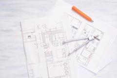 plan de la casa 3d con el lápiz y el compás Fotografía de archivo libre de regalías